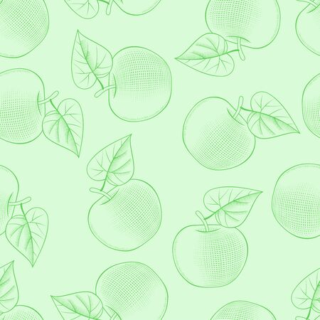 Seamless background with a picture of an Apple. Old color print with a stylized pattern. Vector illustration  イラスト・ベクター素材