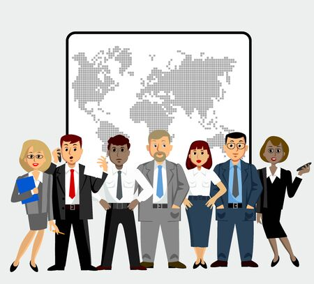 Office staff of different nationalities. Lawyers, economists, presidents, bank employees and entrepreneurs. Vector image.