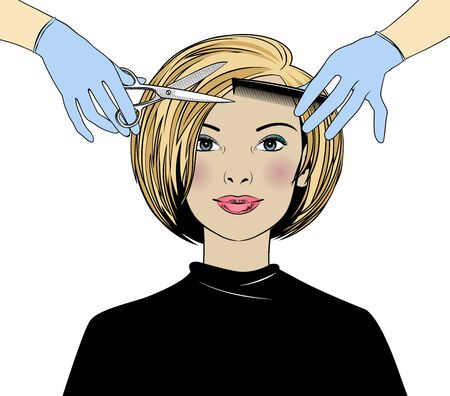 Beautiful woman in a hair salon. Hairdressers and beauty salons are open. Hair care at home. Vector illustration.