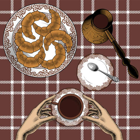 Background with a Cup of hot drink, fresh croissants, coffee spoon, Turk coffee. We cook at home. We eat at home. Illustrations in the style of hand engraving. Vector illustration.