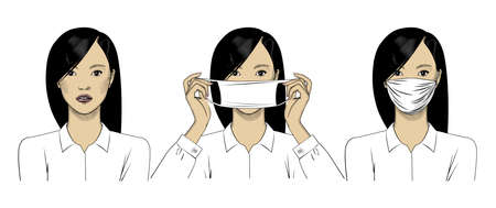 A beautiful Asian woman wears a protective medical mask to prevent the virus. Stop the infection. The concept of health care. Vector illustration isolated on a white background.