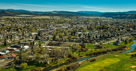 Overlooking city of Prineville, Oregon USA