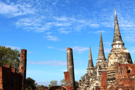 travel trip on sunny day and blue sky in Thailand, Famous temple, Famous temple view on sunny day.