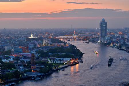 chao phraya: Thailand Landscape : Chao Phraya river at dusk viewed from top Stock Photo