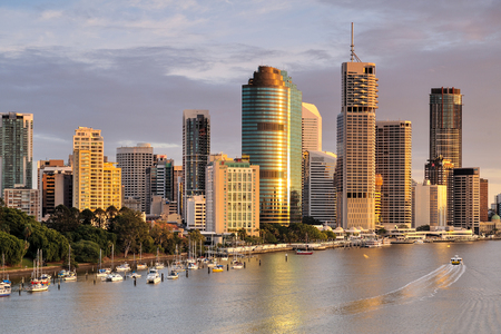 riverside landscape: Australia Landscape : Brisbane riverside skyline and Eagle Street Stock Photo