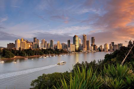 landscape riverside: Australia Landscape : Brisbane riverside skyline and Eagle Street Stock Photo