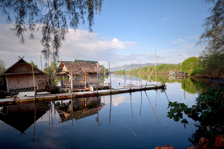 Thailand Landscape : Local tourism boat house on a river in Songkhla in beautiful morning Stock Photo
