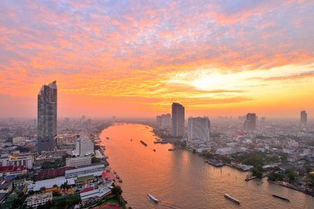 Thailand Landscape : Chao Phraya river at sunset