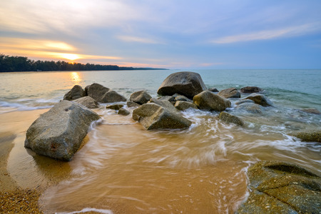 Thailand Landscape : Narathat beach at sunset Stock Photo