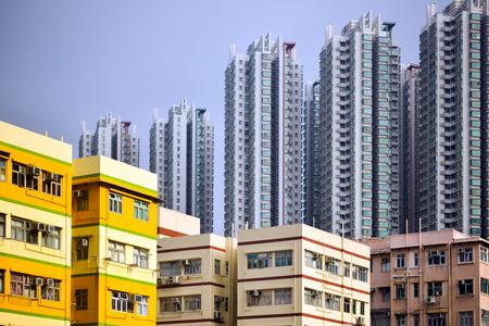 low income housing: Hong Kong high density housing apartments Stock Photo