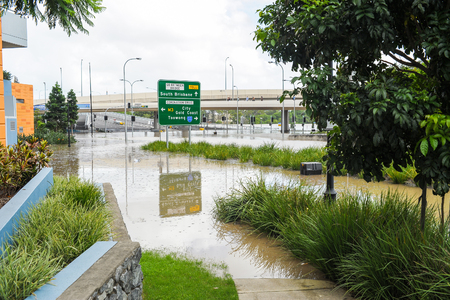 Coronation Drive during Brisbane flood event