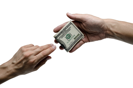 one hand offer one hundred dollar bill to other isolated Stock Photo