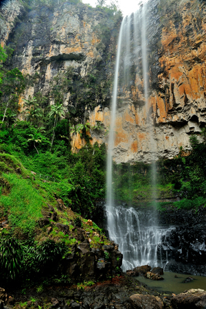 Australia Landscape : Purling Brook Horsetail Waterfalls of Springbrook National Park in Queensland Stock Photo