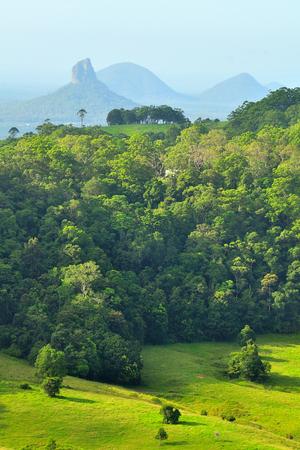 Australia rural scenic route lookout to Glasshouse Mountain Stock Photo