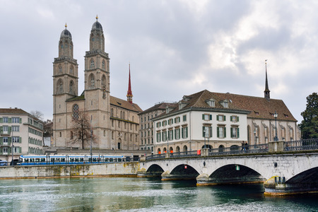 Grossmunster church of Zurich on Limmat riverside