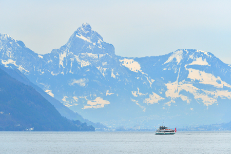 Switzerland Landscape : Cruise ship in Lake Luzern Stock Photo