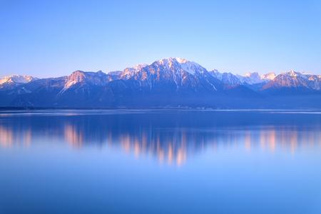 montreux: Switzerland Landscape : Lake Geneva of Montreux at sunrise Stock Photo