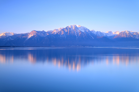 Switzerland Landscape : Lake Geneva of Montreux at sunrise Фото со стока