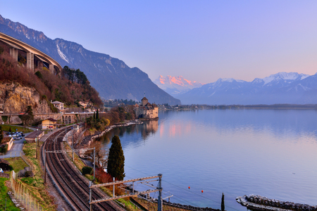 Switzerland Landscape : Lake Geneva of Montreux at sunset Stock Photo