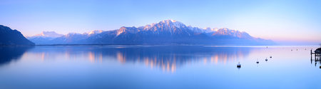 Switzerland Landscape : Lake Geneva of Montreux at sunrise Stok Fotoğraf
