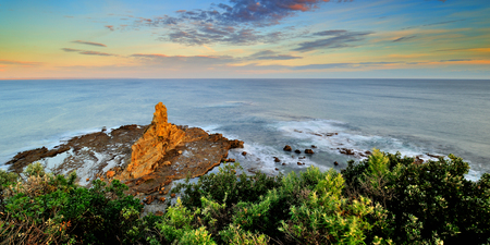Eagle Nest iconic rock of Bunurong Marine National Park of Victoria Stock Photo