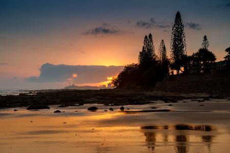 Sunrise a Alexandra Headland in Sunshine Coast Stock Photo