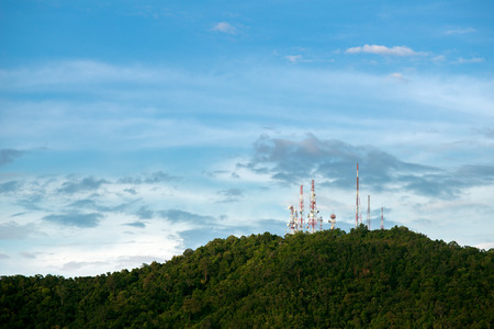 Radio masts and towers on mountain top