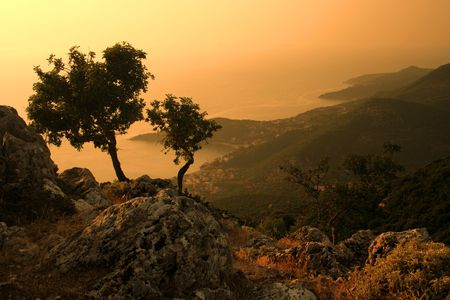 kefalonia: Sunset on the greek island (Kefalonia). Stock Photo