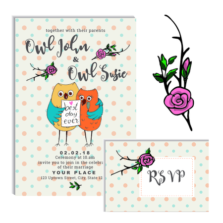 owl groom embraces the bride one wing and theyre holding a sign saying best day ever invitation RSVP card