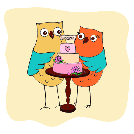 groom owl and bride owl wedding around a three-tiered cake decorated with flowers and a topper with inscription love