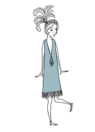 vintage illustration of girl