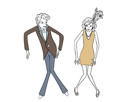 Patrón De La Danza Del Oscilación. Bailarines Y Músicos. Estilo ...
