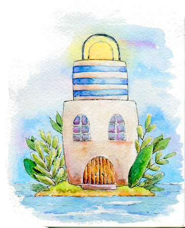 watercolor lighthouse magic white blue stripe, green trees