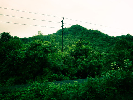 Green hill shot with railway wires