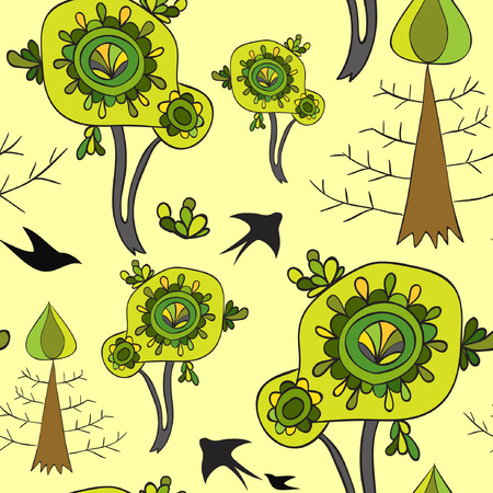 swallows: Green spring pattern with swallows and trees Illustration