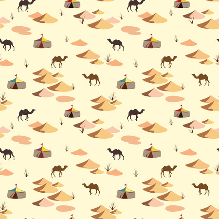 camel: Seamless pattern with camels and dunes on the desert