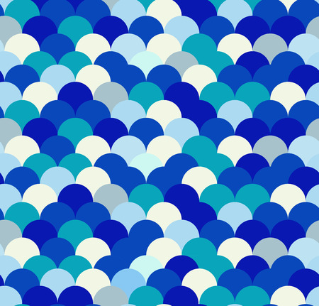 Seamless blue pattern with waves circles Vector