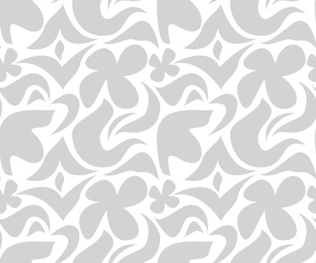 bleached: Seamless grey and white floral pattern Illustration