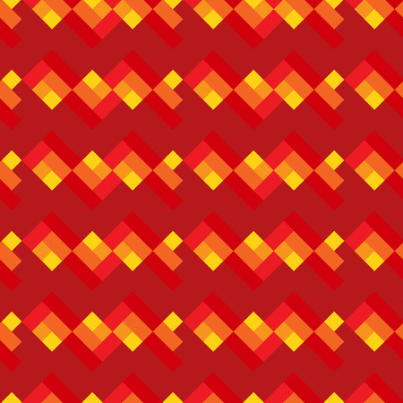 Red and yellow seamless geometric pattern with lines Vector