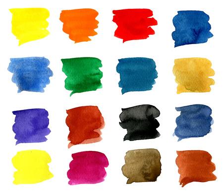 strokes: Watercolor 16 colorful brush strokes
