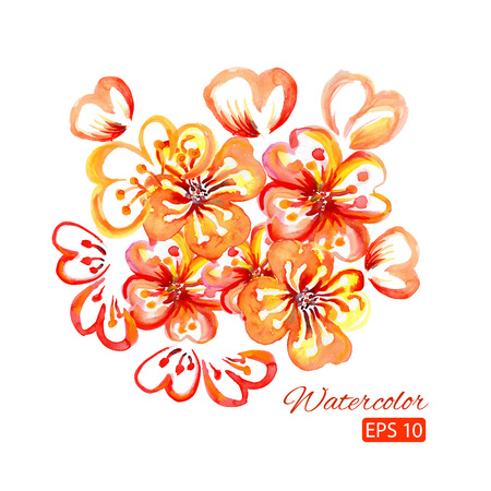 copy space: Watercolor card with decorative orange flowers and copy space