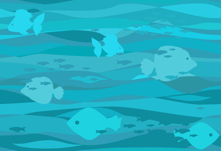 Seamless water pattern with different fishes