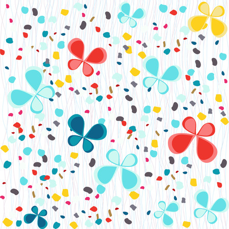 butterflys: Seamless pale pattern with butterflys and colorful petals