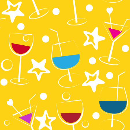 drinkware: Seamless yellow background with coctails