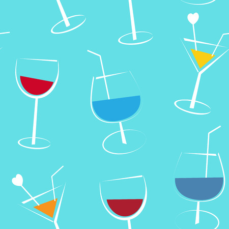 pale cream: Seamless blue background with coctails