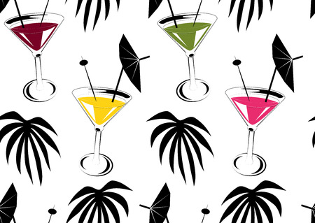 drinkware: Seamless background with cocktails and palm leafs Illustration