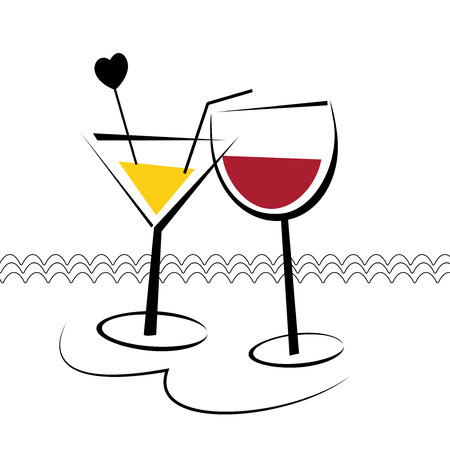 drinkware: Two glasses with cocktail