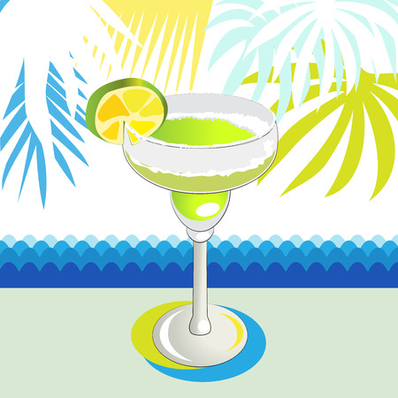 drinkware: Glass of green cocktail Illustration