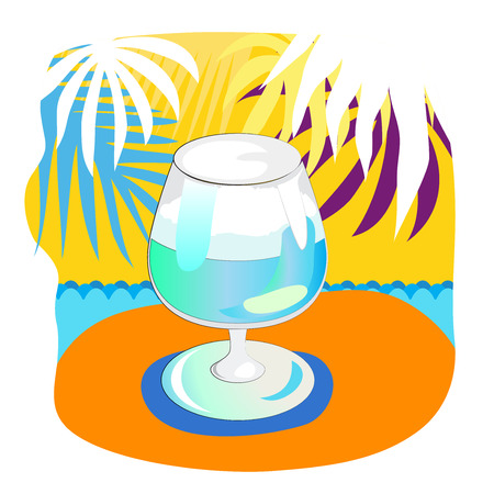 leafs: Glass with cocktail and palm leafs on the ywllow background Illustration