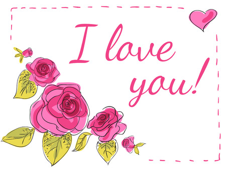 flower clip art: lovely card with roses